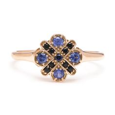 Sapphire Flower Ring (please inquire to order)