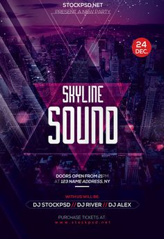 Skyline Sound Free Party Flyer Template for Photoshop Free Psd Flyer Templates, Flyer Free, Techno Party, Event Poster Design, Flyer Design Inspiration, Poster Layout, Party Poster, Party Flyer, Party