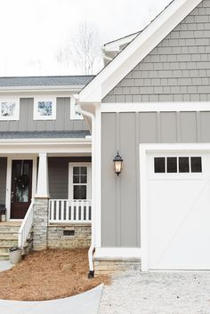 farmhouse exterior paint colors grey siding paint color is gauntlet gray and whi. farmhouse exterior paint colors grey siding paint color is gauntlet gray and white trim paint color House, Paint Colors For Home, House Siding, Exterior Design, New Homes, Modern Farmhouse Exterior, Painting Trim White, House Paint Exterior