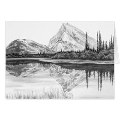 mountain lake drawing drawings landscape pencil swan sketches sketch kelli zazzle card easy background colored charcoal artwork note landscapes paintingvalley