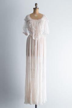 Vintage Sheer Silk Gown - S