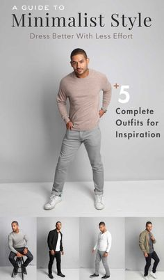 Minimalist Fashion: 5 Complete Outfits for Inspiration Minimalist Fashion: Dress Better With Less Effort 5 Complete Getups For Inspiration!Minimalist Fashion: Dress Better With Less Effort 5 Complete Getups For Inspiration! Minimalist Wardrobe Men, Minimalist Dresses, Minimalist Fashion, Minimalist Style, Minimalist Outfits, Big Men Fashion, Fashion Mode, Fashion Ideas, Fashion Inspiration