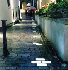 In-ground paver lights, london light design, street lighting walkway lighting.