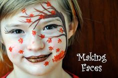 14 Ugly Truth About Fall Face Painting Ideas Face Painting Designs, Paint Designs, Monster Face Painting, Cheek Art, Kids Makeup, Fall Makeup, Tree Faces, Making Faces, Maquillage Halloween