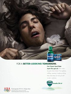 NyQuil (2 of 2)- Apollo Ono indirect source. Similar to the Drew Brees advertisment, this ad uses Apollo Ono's credibility and familiarity to appeal to the audience. The brand is getting the message across that even Olympic athletes need NyQuil to get through the night. It works for everyone.