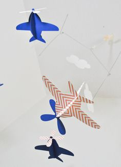 Baby Mobile Airplanes in Orange Chevron and Blue by CactusAndOlive