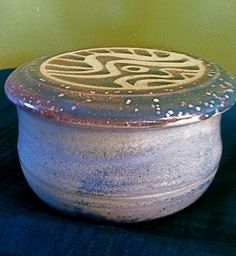 Butter dish with gold and dark green waxresist by paradisepottery, $35.00