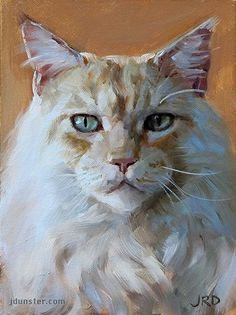 "Daily Paintworks - ""Big White Cat"" - Original Fine Art for Sale - © J. Art And Illustration, Illustrations, Gatos Cats, Watercolor Cat, Online Painting, Cat Drawing, Animal Paintings, Pet Portraits, Cat Art"