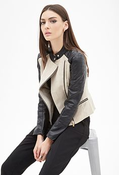Faux Suede & Faux Leather Moto Jacket | FOREVER 21 - 2000060486