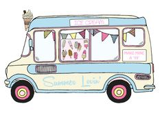 This year we will have an ice cream van, Krispy Kreme orginal glazed donuts and cakes on sale along with the more savory options of pulled pork, salad and classic BBQ options. Ice Cream Cart, Love Ice Cream, Logo Dulce, Orla Infantil, Van Drawing, Soft Serve Machine, Pop Art, Ice Cream Illustration, Vintage Ice Cream
