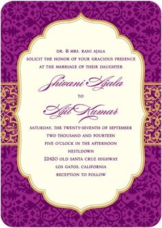 Signature White Wedding Invitations Detailed Ornament - Front : Berry... indian themed wedding