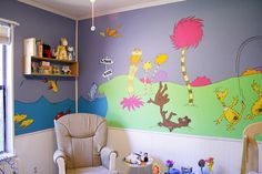 Dr seuss nursery girl image of nursery themes dr seuss baby room decorations Bedroom Murals, Kids Bedroom, Wall Murals, Bedroom Ideas, Wall Art, Dr Seuss Nursery, Girl Nursery, Lorax, Half Wall Decor