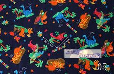 Vintage Japanese Lovely dinosaur Cotton Fabric 1/2 by hitomigift