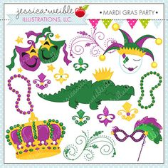 Mardi Gras Party Cute Digital Clipart for Card Design, Scrapbooking, and Web Design