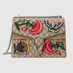 Dionysus Butterfly GG Supreme Canvas Shoulder Bag, Multi by Gucci at Neiman Marcus. Floral Shoulder Bags, Gucci Shoulder Bag, Canvas Shoulder Bag, Chain Shoulder Bag, Shoulder Handbags, Leather Shoulder Bag, Gucci Purses, Gucci Handbags, Brown Handbags