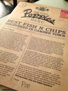 Poppies Fish and Chips Camden Town menu http://www.lesgreedycochons.co.uk/2013/11/review-poppies-fish-chips-camden-town/