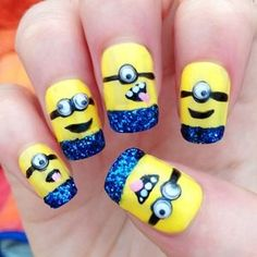 Minion Nail Art Design : minion nail art design with girl. Minion nail art design with girl. Nail Art Minion, Cute Nail Art, Easy Nail Art, Love Nails, Pretty Nails, Nagellack Design, Nails For Kids, Cute Nail Designs, Creative Nails