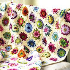 Vintage Rose and Daisy Flower Afghan Crochet Pattern. $5.00, via Etsy.