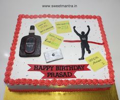 Customized fresh cream designer sheet cake with fondant toppers for Husband's 40th birthday at SB Road, Pune