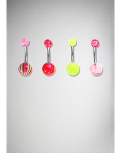 14 Gauge Yellow & Pink Stripe Banana Belly Button Ring 4-Pack