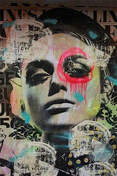 title: Paint-Bleeding Portraits artist: Dain Fuses Mixed Media, Wheatpasting and Collage