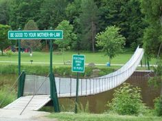 """The Croswell Swinging Bridge is the only pedestrian suspension bridge in Michigan.It was built in 1905 at an original cost of $300. It spans 139 feet. The original bridge had just two cables which were provided by Michigan Sugar Company and were used to support the planks. To provide a handhold, two more cables were added at a cost of $150.In August of 2006, all 128 planks were replaced at a cost of $1,300. The Bridge originally had a sign at the west end that admonished people to """"Love Ye…"""
