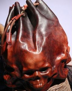 Handmade Tanned Leather Bag Skull Drawstring Backpack