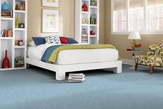 Mohawk's Superstar carpet. Pops of color make this room exciting and inviting.  #bedroom  www.interiordesignswi.com
