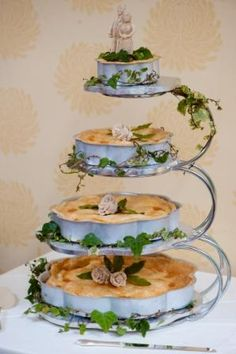 """Wedding Pie - There's a growing trend in the wedding industry to serve pie instead of cake at wedding receptions. While this is a departure from the tradition of serving cake, it is not a new idea. A recent blog post by """"Pie"""" reports that in the 17th-C., the Bride's Pie was in fact very common. As an added surprise, a glass ring was baked inside the pie; it was claimed that the lady who found the ring would be the next to marry.  The tradition gave way to  cakes by the late 19th-C. (I want…"""