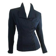 Deep Blue Wool Off-Center Button Nipped Waist Jacket circa 1940s by Lilli Ann