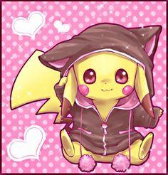 so cute! Pikachu in a cat hoodie.