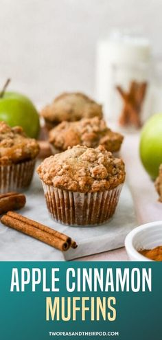 Apple cinnamon muffins with a sweet and buttery cinnamon crumb topping. These muffins are easy to make and are great for breakfast or snack time. Easy Breakfast Muffins, Healthy Muffins, Heathy Breakfast, Breakfast Ideas, Healthy Snacks, Breakfast Recipes, Healthy Recipes, Amish Recipes, Apple Recipes