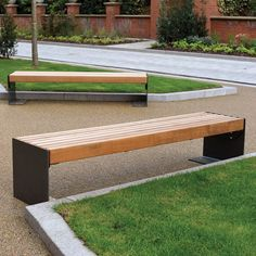 Contemporary style bench with FSC Iroko timber slats. Part of the NUSSER street furniture range. Urban Furniture, Street Furniture, Outdoor Furniture, Outdoor Decor, Rooftop Terrace Design, Timber Slats, Driftwood Furniture, Bench Designs, Deck