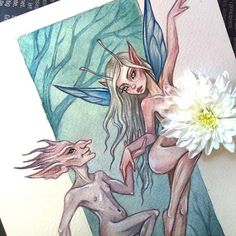 Original watercolor art in the style of fantasy   #art #illustration #fantasyart #fantasy #fay #fairytale #fairies #fairy #forest #watercolor #watercolorpainting #nude #blackfury