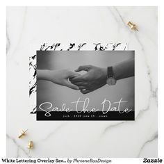Shop White Lettering Overlay Save the Date Photo Card created by PhrosneRasDesign. Save The Date Photos, Save The Date Cards, Good Cheer, Personal Photo, Photo Cards, Overlays, Wedding Inspiration, Dating, Change