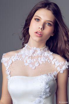 blumarine bridal 2014 cap sleeve high neck mermaid wedding gown illusion neckline applique bodice. Stunning!