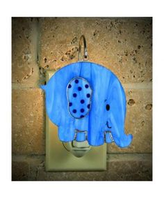 Blue Elephant Switchables Stained Glass Nightlight Ornament