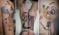 Surreal cubist tattoos based on clients' stories
