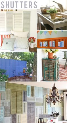Upcycled Shutters...I like the headboard and love the privacy wall for a herb garden deck at the restaurant         J