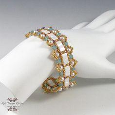 Weiße Tila-Armband, Beadweaving, Pearl, blau