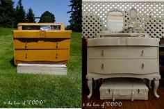 From 4theloveofwood.blogspot.ca ...  PART I A LEG UP - adding legs to furniture (mini tutorial...with lots of great ideas)