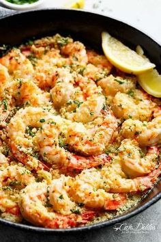 Oven baked shrimp with a hint of lemon and garlic, topped with flavourful golden and buttery, garlic parmesan breadcrumbs. This Crispy Baked Shrimp Scampi is easy to make with a fancy restaurant flair right at home, and takes only minutes to prepare! Fish Recipes, Seafood Recipes, Cooking Recipes, Healthy Recipes, Baked Shrimp Recipes, Fish And Shrimp Recipe, Easy To Make Recipes, Meals With Shrimp, Shrimp Dinner Recipes