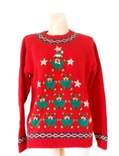Ugly Christmas Sweater Women Medium Men Small Red Hand Knitted Cotton Teddy Bear