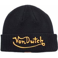 Von Dutch Men s Orange Black Beanie Cap Hat (One Size Fits Most) 70ad1a788ea4