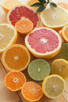 colorful citrus! orange. yellow. green. pink.