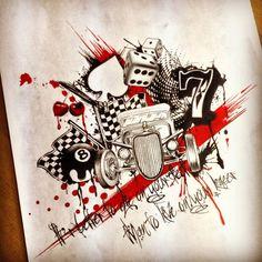 Trash polka roses by dazzbishop on DeviantArt Rockabilly Tattoo Designs, Rockabilly Tattoos, Casino Tattoo, Vegas Tattoo, Red Tattoos, Music Tattoos, Black Red Tattoo, Tattoo Homme, Hot Rod Tattoo