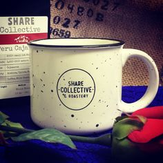 Valentine gift set: one of our incredible, speckled ceramic mugs (12oz) and a 12oz pack of organic coffee, hand roasted at historic Maple Mount Farm, in the hills just south of Nashville, Tennessee  www.ShareRoastery.com