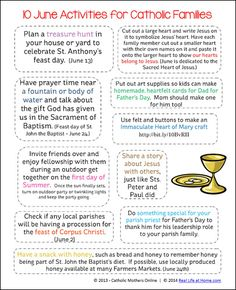 10 June Activities for Catholic Families {Free Printable} - Real Life at Home