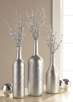 Glitzy Silver Bottle Trio Centerpiece - tutorial