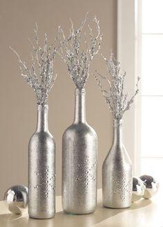Glitzy Silver Bottle Trio Centerpiece - tutorial